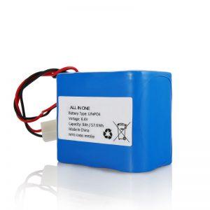 6.4V 12AhLiFePO4充電リチウム2665032650ソーラーライト用コネクタ付きバッテリーパック